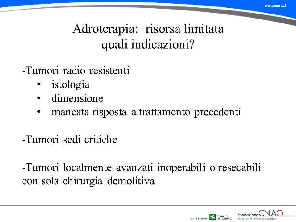 www.cnao.it Adroterapia: risorsa limitata quali indicazioni? -Tumori radio resistenti istologia dimensione mancata risposta a trattamento precedenti -