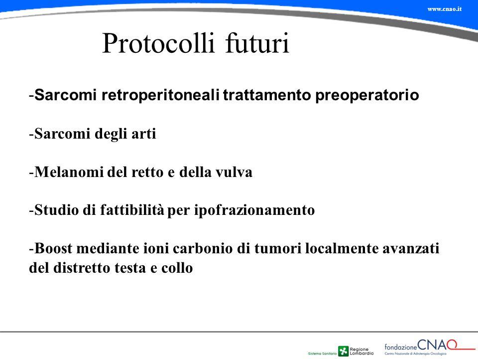 Protocolli futuri -Sarcomi retroperitoneali trattamento preoperatorio -Sarcomi degli arti -Melanomi del retto e della vulva -Studio di fattibilità per