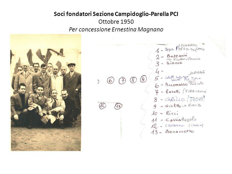 Soci fondatori Sezione Campidoglio-Parella PCI Ottobre 1950 Per concessione Ernestina Magnano