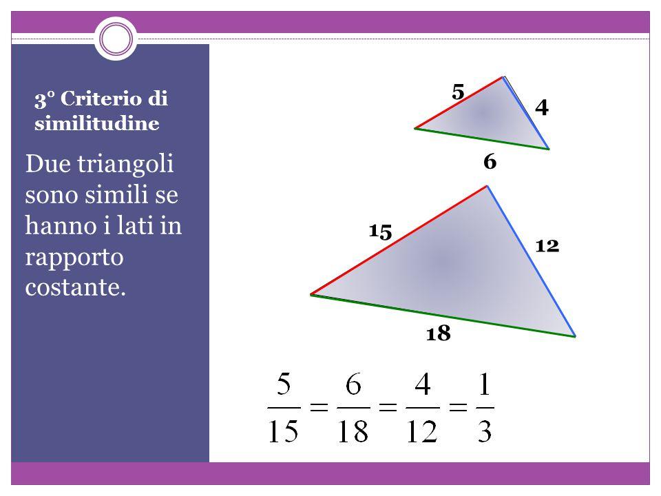 3° Criterio di similitudine Due triangoli sono simili se hanno i lati in rapporto costante.