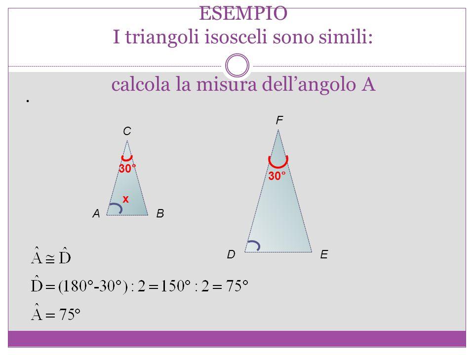 ESEMPIO I triangoli isosceli sono simili: calcola la misura dell'angolo A. AB C DE F x 30°