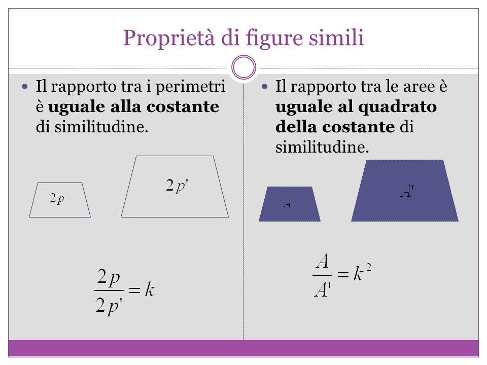 Proprietà di figure simili Il rapporto tra i perimetri è uguale alla costante di similitudine.