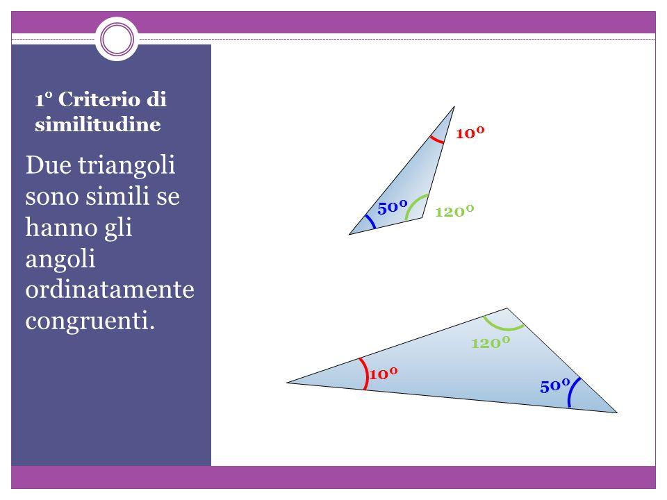1° Criterio di similitudine Due triangoli sono simili se hanno gli angoli ordinatamente congruenti.