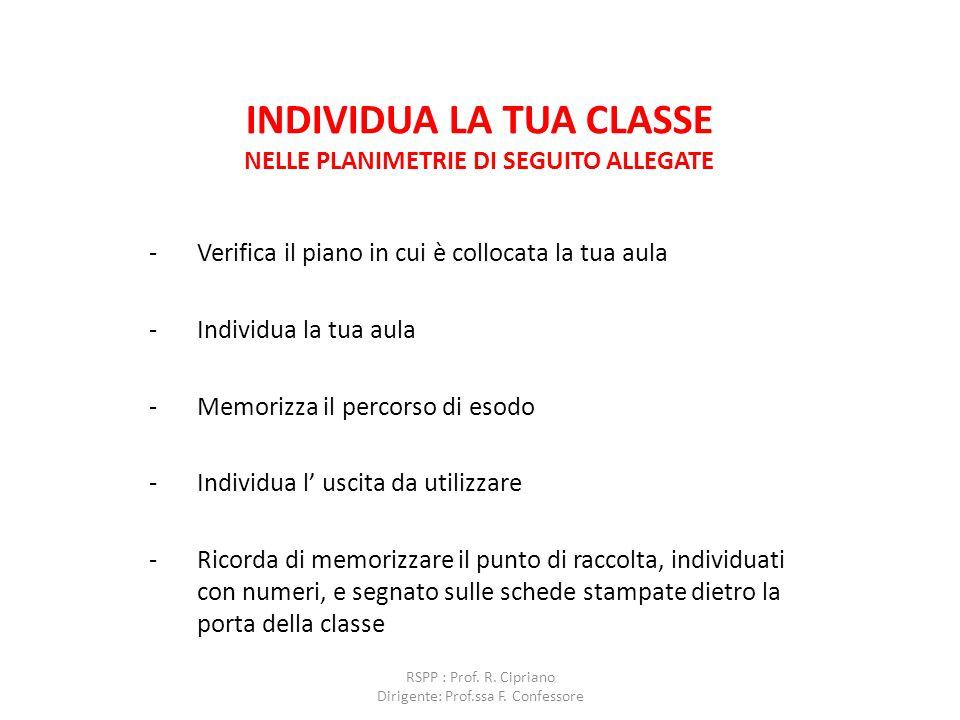INDIVIDUA LA TUA CLASSE NELLE PLANIMETRIE DI SEGUITO ALLEGATE -Verifica il piano in cui è collocata la tua aula -Individua la tua aula -Memorizza il p