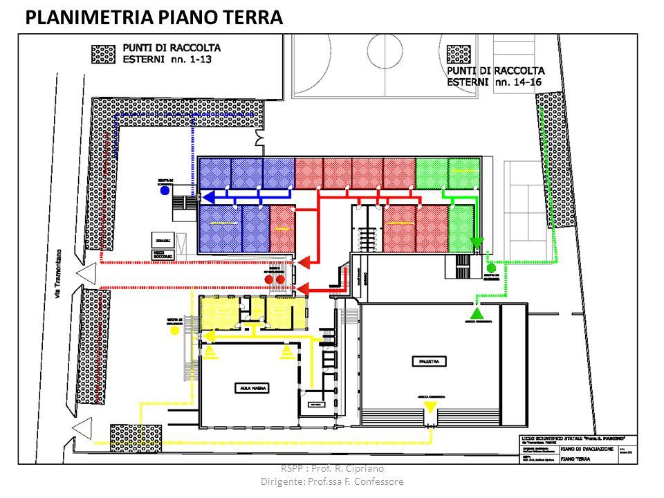 PLANIMETRIA PIANO TERRA RSPP : Prof. R. Cipriano Dirigente: Prof.ssa F. Confessore