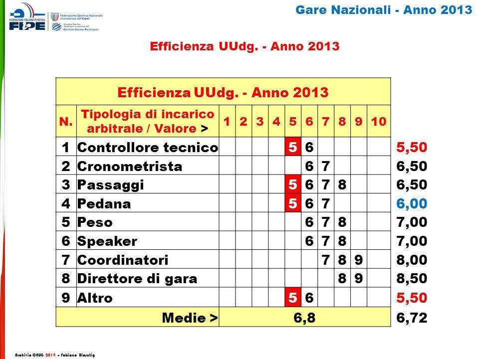 Efficienza UUdg. - Anno 2013 N.