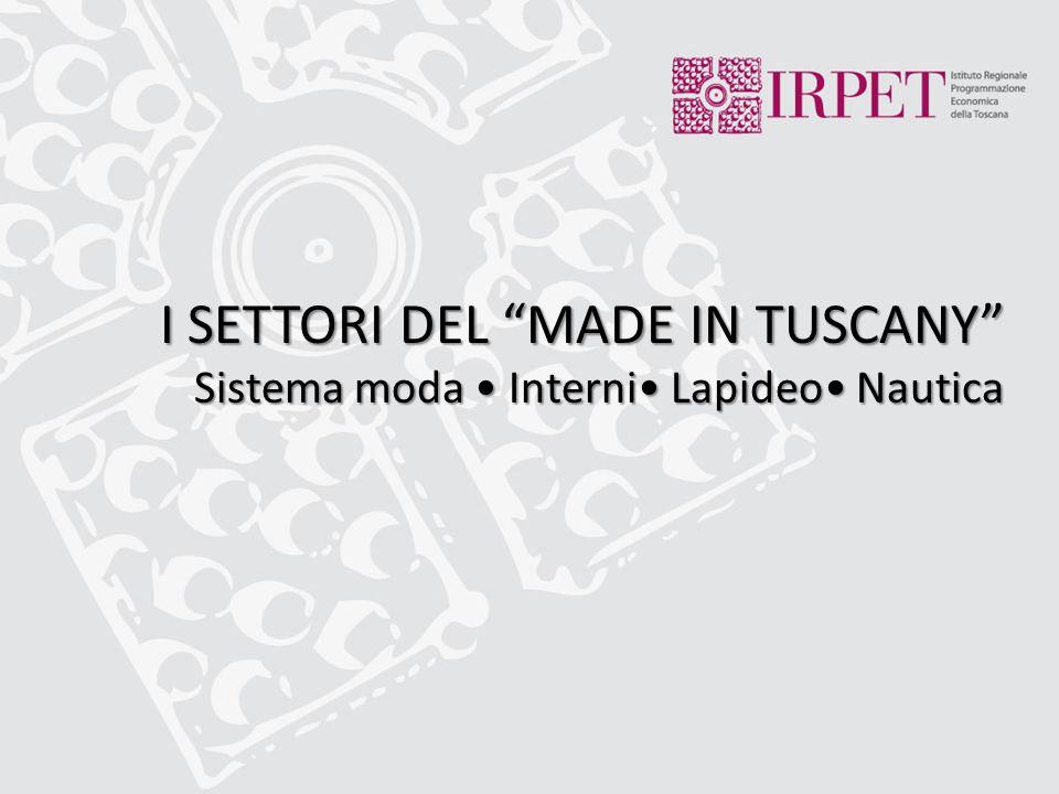 """I SETTORI DEL """"MADE IN TUSCANY"""" Sistema moda Interni Lapideo Nautica"""