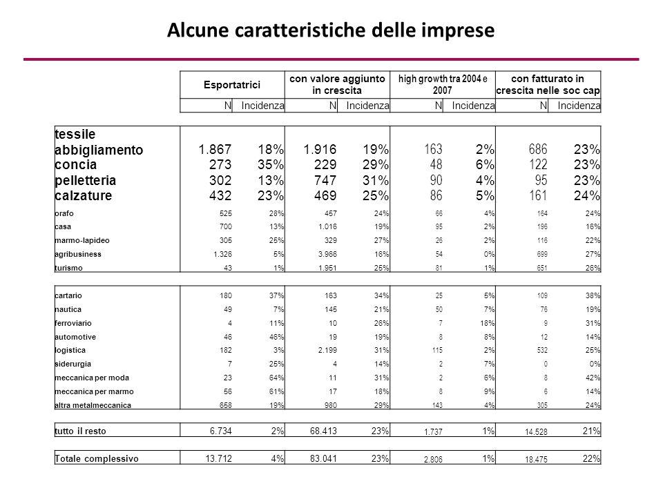 Alcune caratteristiche delle imprese Esportatrici con valore aggiunto in crescita high growth tra 2004 e 2007 con fatturato in crescita nelle soc cap NIncidenzaN N N tessile abbigliamento1.86718%1.91619% 163 2% 686 23% concia27335%22929% 48 6% 122 23% pelletteria30213%74731% 90 4% 95 23% calzature43223%46925% 86 5% 161 24% orafo52528%45724% 66 4% 164 24% casa70013%1.01619% 95 2% 196 16% marmo-lapideo30525%32927% 26 2% 116 22% agribusiness1.3265%3.96616% 54 0% 699 27% turismo431%1.95125% 81 1% 651 26% cartario18037%16334% 25 5% 109 38% nautica497%14521% 50 7% 76 19% ferroviario411%1026% 7 18% 9 31% automotive4646%1919% 8 8% 12 14% logistica1823%2.19931% 115 2% 532 25% siderurgia725%414% 2 7% 0 0% meccanica per moda2364%1131% 2 6% 8 42% meccanica per marmo5661%1718% 8 9% 6 14% altra metalmeccanica65819%98029% 143 4% 305 24% tutto il resto6.7342%68.41323% 1.737 1% 14.528 21% Totale complessivo13.7124%83.04123% 2.806 1% 18.475 22%