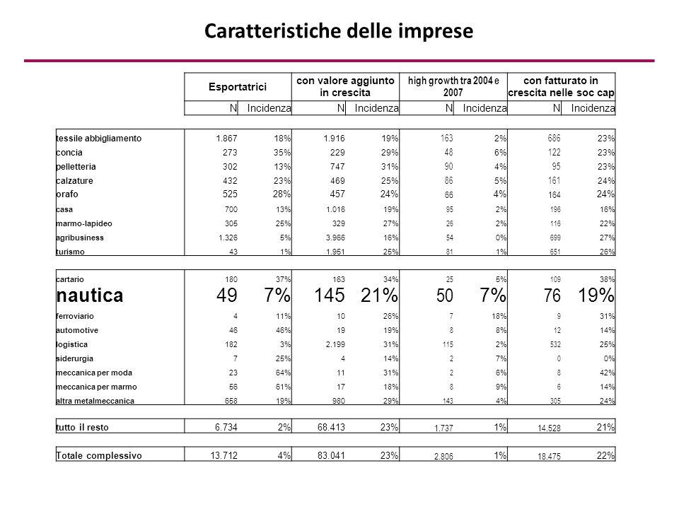 Caratteristiche delle imprese Esportatrici con valore aggiunto in crescita high growth tra 2004 e 2007 con fatturato in crescita nelle soc cap NIncidenzaN N N tessile abbigliamento1.86718%1.91619% 163 2% 686 23% concia27335%22929% 48 6% 122 23% pelletteria30213%74731% 90 4% 95 23% calzature43223%46925% 86 5% 161 24% orafo52528%45724% 66 4% 164 24% casa70013%1.01619% 95 2% 196 16% marmo-lapideo30525%32927% 26 2% 116 22% agribusiness1.3265%3.96616% 54 0% 699 27% turismo431%1.95125% 81 1% 651 26% cartario18037%16334% 25 5% 109 38% nautica497%14521% 50 7% 76 19% ferroviario411%1026% 7 18% 9 31% automotive4646%1919% 8 8% 12 14% logistica1823%2.19931% 115 2% 532 25% siderurgia725%414% 2 7% 0 0% meccanica per moda2364%1131% 2 6% 8 42% meccanica per marmo5661%1718% 8 9% 6 14% altra metalmeccanica65819%98029% 143 4% 305 24% tutto il resto6.7342%68.41323% 1.737 1% 14.528 21% Totale complessivo13.7124%83.04123% 2.806 1% 18.475 22%