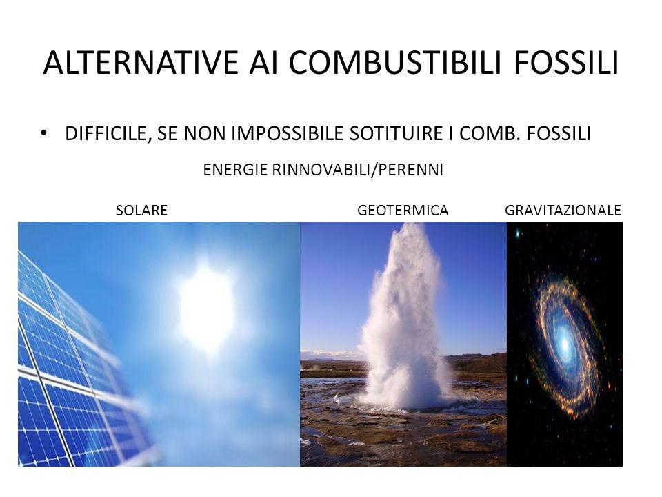 ALTERNATIVE AI COMBUSTIBILI FOSSILI DIFFICILE, SE NON IMPOSSIBILE SOTITUIRE I COMB. FOSSILI ENERGIE RINNOVABILI/PERENNI SOLARE GEOTERMICA GRAVITAZIONA