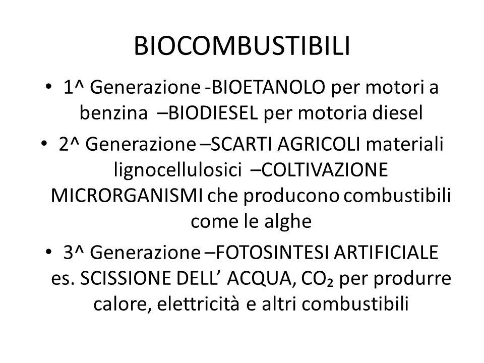BIOCOMBUSTIBILI 1^ Generazione -BIOETANOLO per motori a benzina –BIODIESEL per motoria diesel 2^ Generazione –SCARTI AGRICOLI materiali lignocellulosi