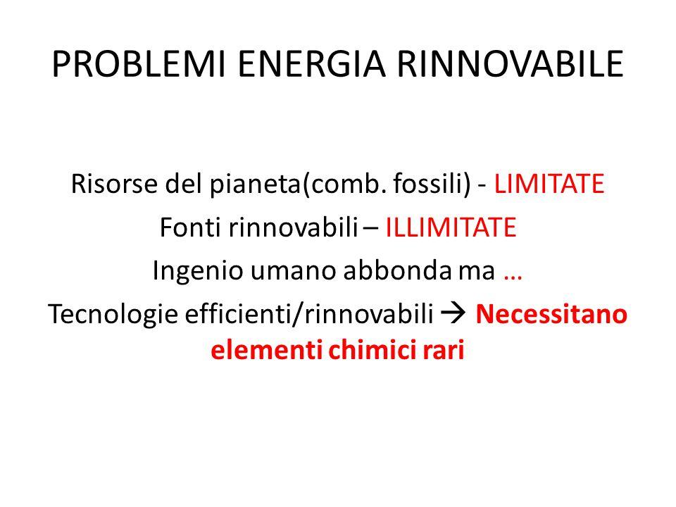PROBLEMI ENERGIA RINNOVABILE Risorse del pianeta(comb. fossili) - LIMITATE Fonti rinnovabili – ILLIMITATE Ingenio umano abbonda ma … Tecnologie effici