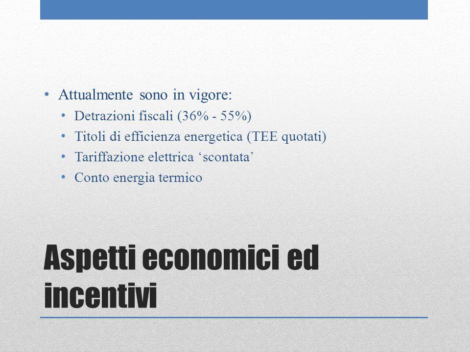 Aspetti economici ed incentivi Attualmente sono in vigore: Detrazioni fiscali (36% - 55%) Titoli di efficienza energetica (TEE quotati) Tariffazione elettrica 'scontata' Conto energia termico