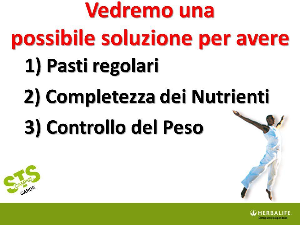 1) Pasti regolari Vedremo una possibile soluzione per avere 2) Completezza dei Nutrienti 2) Completezza dei Nutrienti 3) Controllo del Peso 3) Control