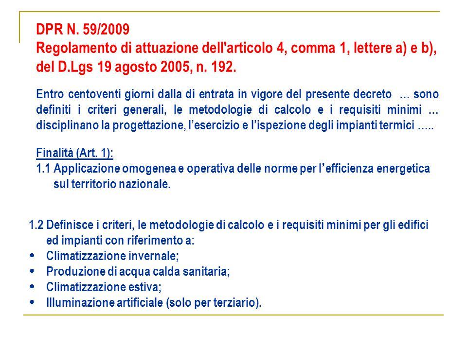DPR N. 59/2009 Entro centoventi giorni dalla di entrata in vigore del presente decreto … sono definiti i criteri generali, le metodologie di calcolo e