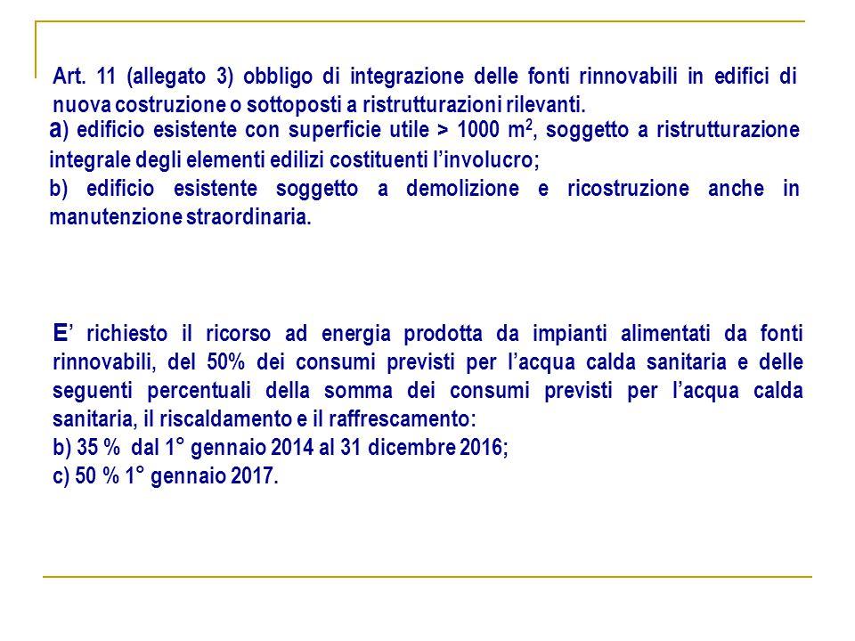 Art. 11 (allegato 3) obbligo di integrazione delle fonti rinnovabili in edifici di nuova costruzione o sottoposti a ristrutturazioni rilevanti. a ) ed