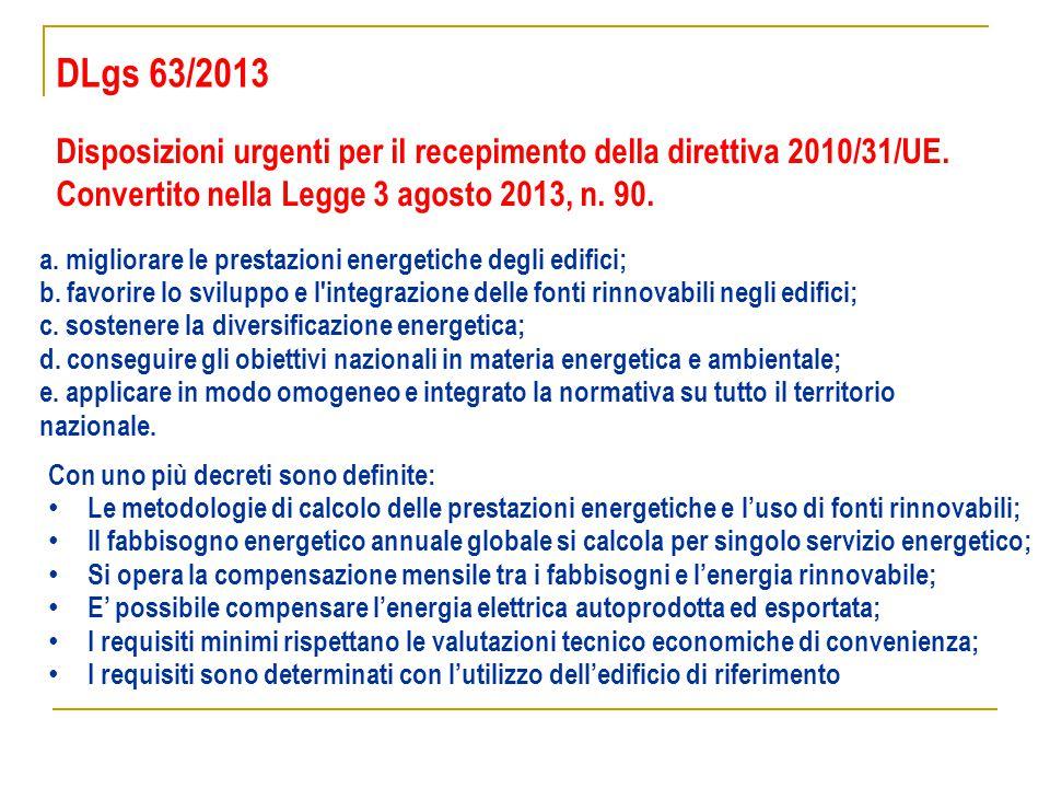 DLgs 63/2013 Disposizioni urgenti per il recepimento della direttiva 2010/31/UE. Convertito nella Legge 3 agosto 2013, n. 90. a. migliorare le prestaz