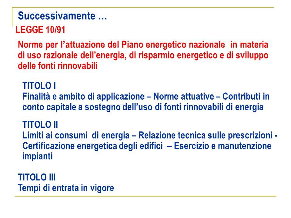 LEGGE 10/91 Norme per l'attuazione del Piano energetico nazionale in materia di uso razionale dell'energia, di risparmio energetico e di sviluppo dell