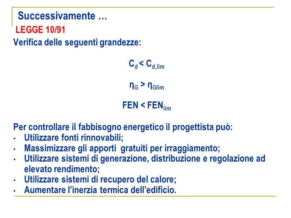 LEGGE 10/91 Verifica delle seguenti grandezze: C d < C d,lim η G > η Glim FEN < FEN lim Per controllare il fabbisogno energetico il progettista può: U