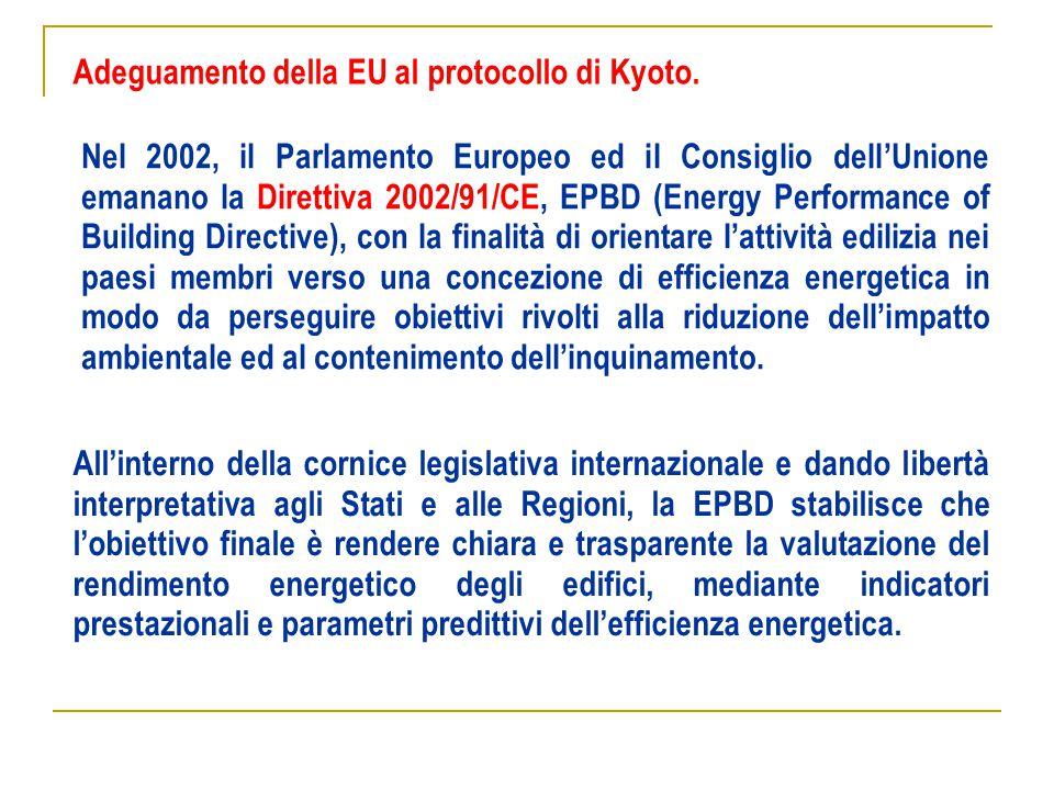 Nel 2002, il Parlamento Europeo ed il Consiglio dell'Unione emanano la Direttiva 2002/91/CE, EPBD (Energy Performance of Building Directive), con la f