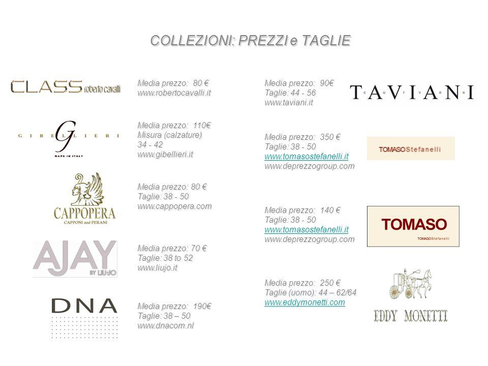 COLLEZIONI: PREZZI e TAGLIE Media prezzo: 80 € www.robertocavalli.it Media prezzo: 110€ Misura (calzature) 34 - 42 www.gibellieri.it Media prezzo: 80