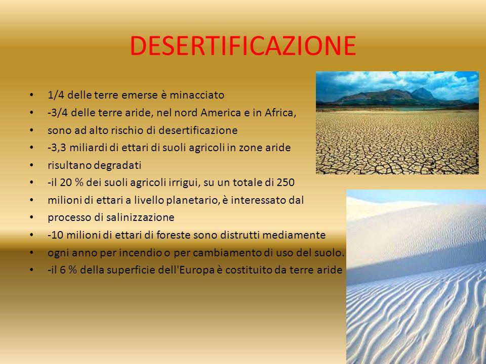 DESERTIFICAZIONE 1/4 delle terre emerse è minacciato -3/4 delle terre aride, nel nord America e in Africa, sono ad alto rischio di desertificazione -3