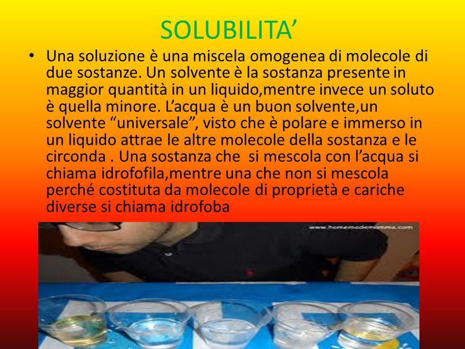 SOLUBILITA' Una soluzione è una miscela omogenea di molecole di due sostanze. Un solvente è la sostanza presente in maggior quantità in un liquido,men