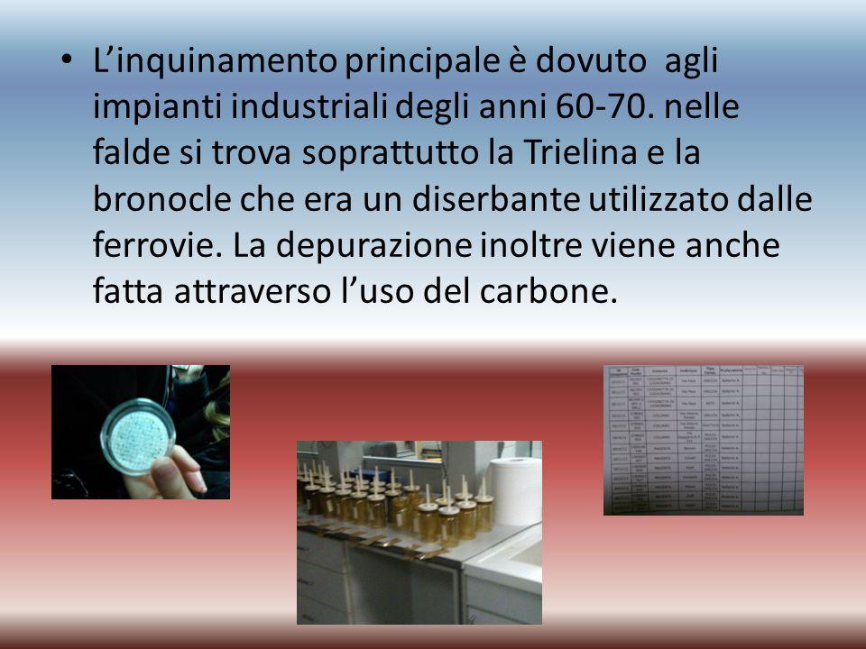 L'inquinamento principale è dovuto agli impianti industriali degli anni 60-70. nelle falde si trova soprattutto la Trielina e la bronocle che era un d