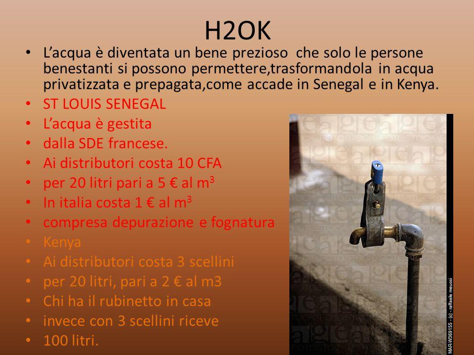 H2OK L'acqua è diventata un bene prezioso che solo le persone benestanti si possono permettere,trasformandola in acqua privatizzata e prepagata,come a