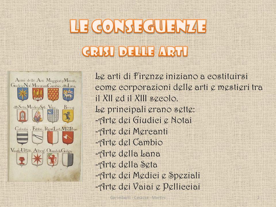 Le arti di Firenze iniziano a costituirsi come corporazioni delle arti e mestieri tra il XII ed il XIII secolo.