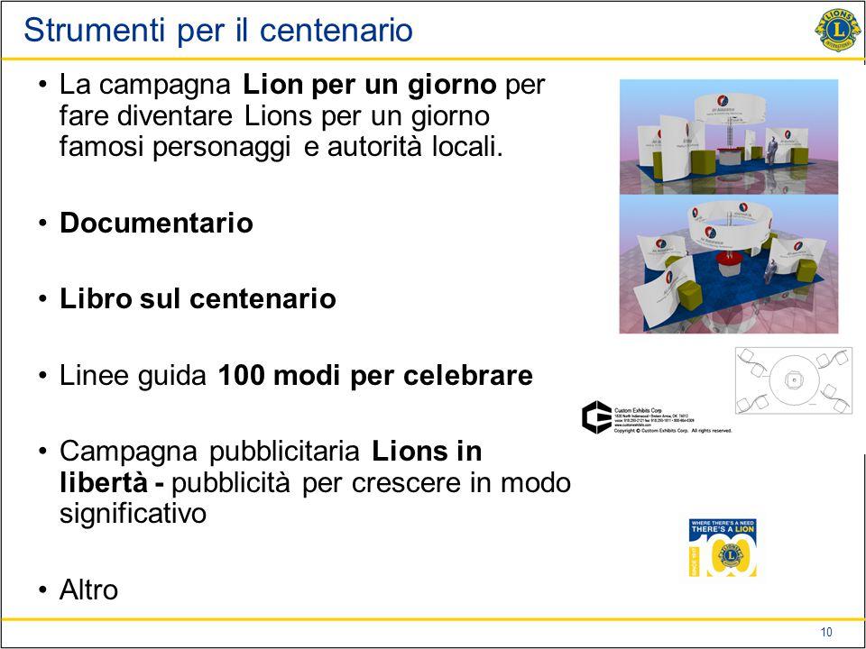 10 Strumenti per il centenario La campagna Lion per un giorno per fare diventare Lions per un giorno famosi personaggi e autorità locali.