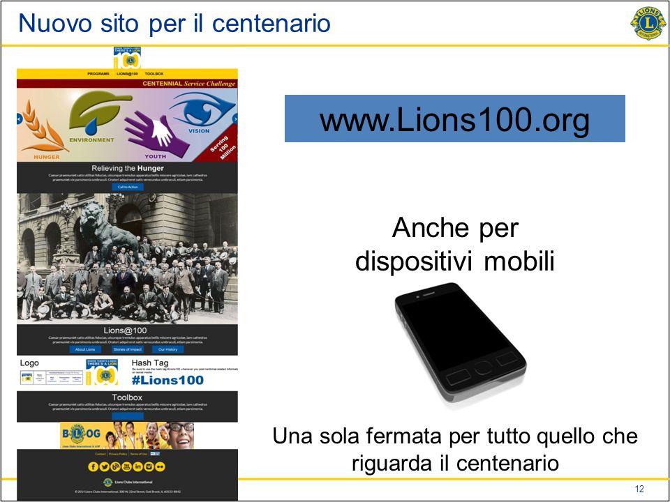 12 Nuovo sito per il centenario www.Lions100.org Anche per dispositivi mobili Una sola fermata per tutto quello che riguarda il centenario