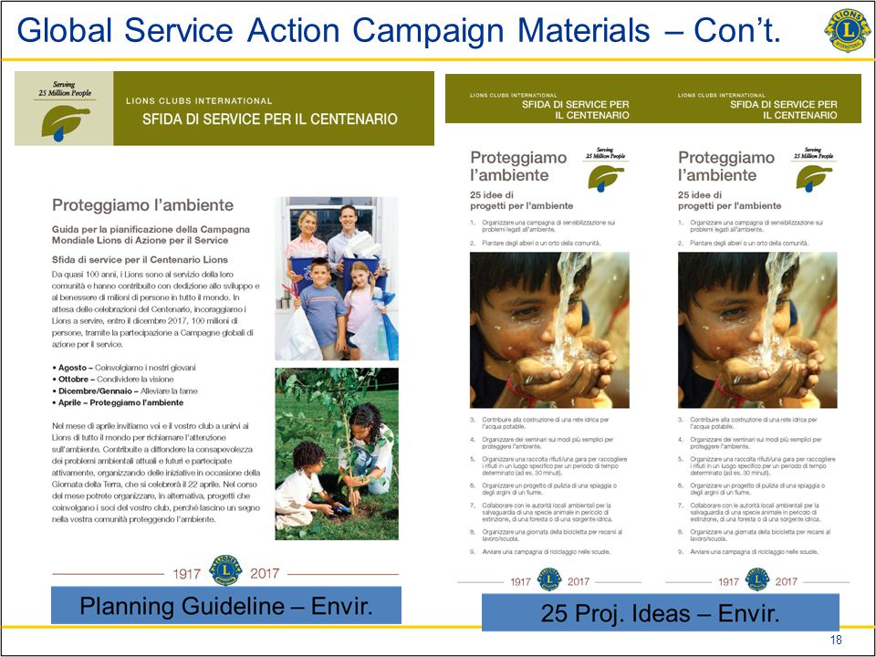 18 Global Service Action Campaign Materials – Con't.