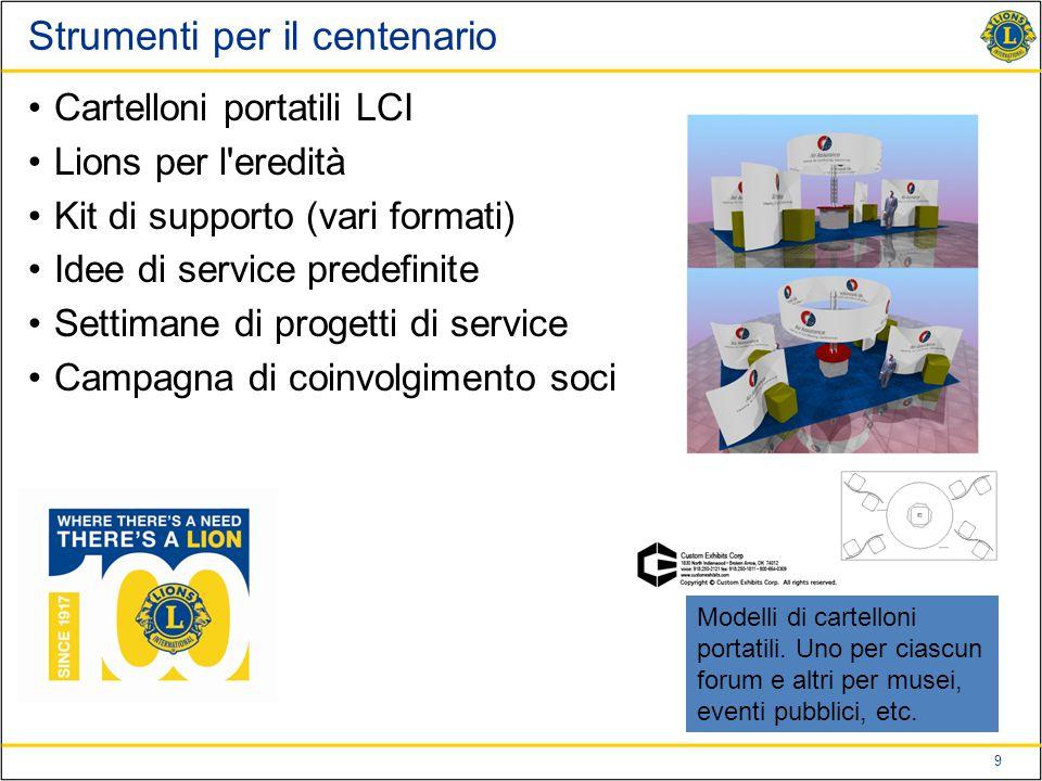 9 Strumenti per il centenario Cartelloni portatili LCI Lions per l eredità Kit di supporto (vari formati) Idee di service predefinite Settimane di progetti di service Campagna di coinvolgimento soci Modelli di cartelloni portatili.