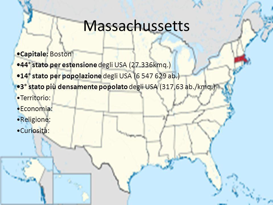 Massachussetts Capitale: Boston 44° stato per estensione degli USA (27.336kmq.) 14° stato per popolazione degli USA (6 547 629 ab.) 3° stato più densa