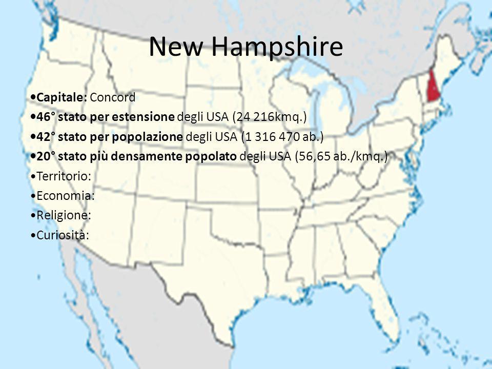 New Hampshire Capitale: Concord 46° stato per estensione degli USA (24 216kmq.) 42° stato per popolazione degli USA (1 316 470 ab.) 20° stato più dens
