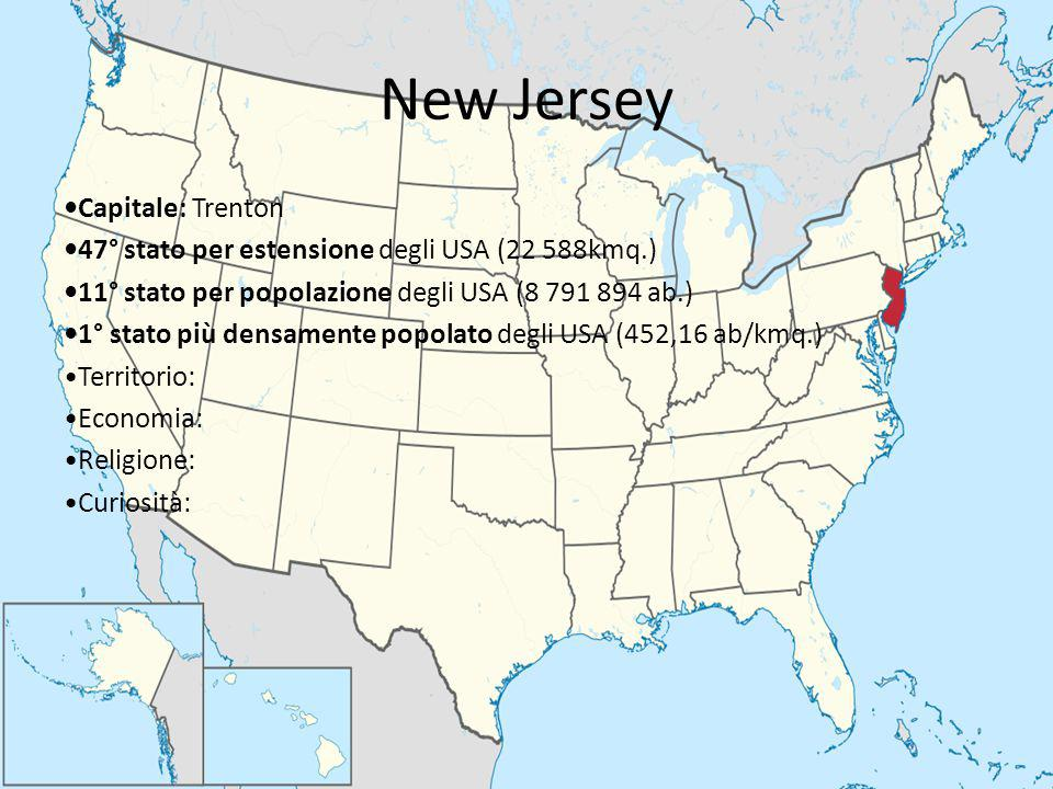 New Jersey Capitale: Trenton 47° stato per estensione degli USA (22 588kmq.) 11° stato per popolazione degli USA (8 791 894 ab.) 1° stato più densamen