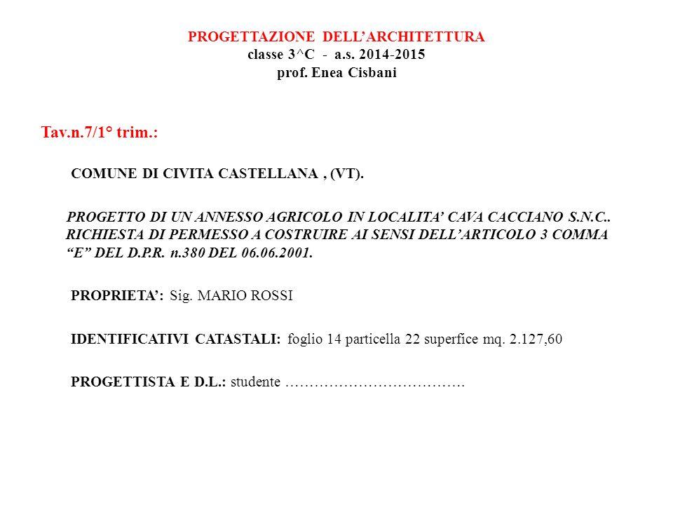 PROGETTAZIONE DELL'ARCHITETTURA classe 3^C - a.s.2014-2015 prof.