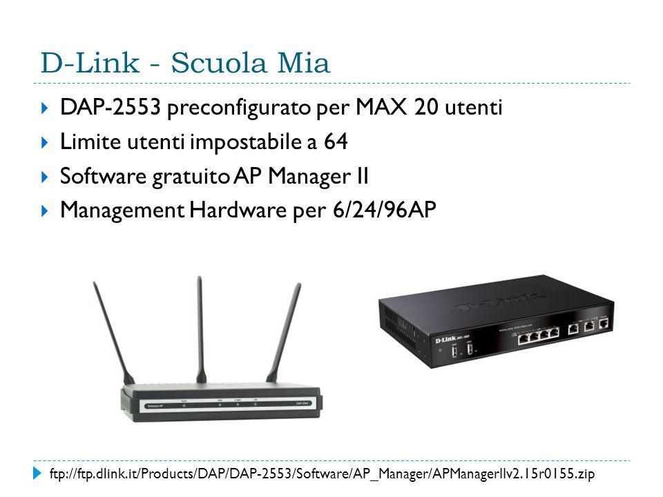 D-Link - Scuola Mia  DAP-2553 preconfigurato per MAX 20 utenti  Limite utenti impostabile a 64  Software gratuito AP Manager II  Management Hardware per 6/24/96AP ftp://ftp.dlink.it/Products/DAP/DAP-2553/Software/AP_Manager/APManagerIIv2.15r0155.zip