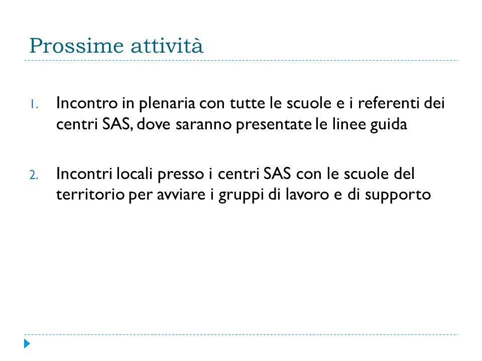 Prossime attività 1. Incontro in plenaria con tutte le scuole e i referenti dei centri SAS, dove saranno presentate le linee guida 2. Incontri locali