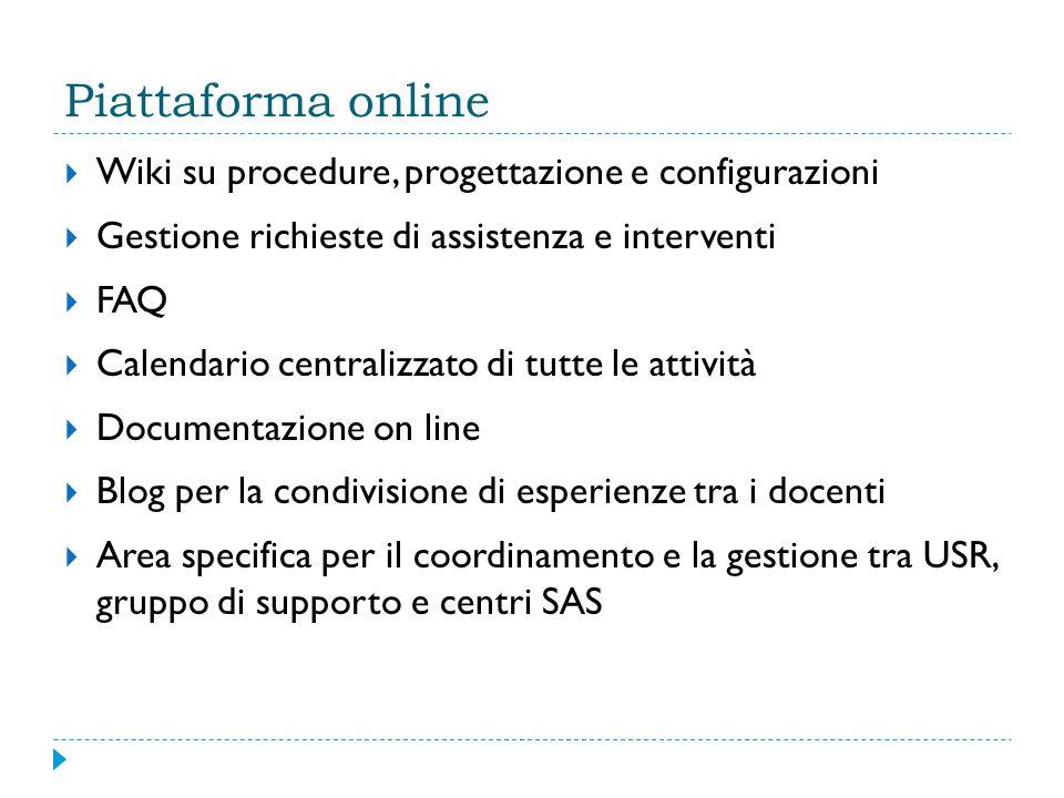 Piattaforma online  Wiki su procedure, progettazione e configurazioni  Gestione richieste di assistenza e interventi  FAQ  Calendario centralizzato di tutte le attività  Documentazione on line  Blog per la condivisione di esperienze tra i docenti  Area specifica per il coordinamento e la gestione tra USR, gruppo di supporto e centri SAS
