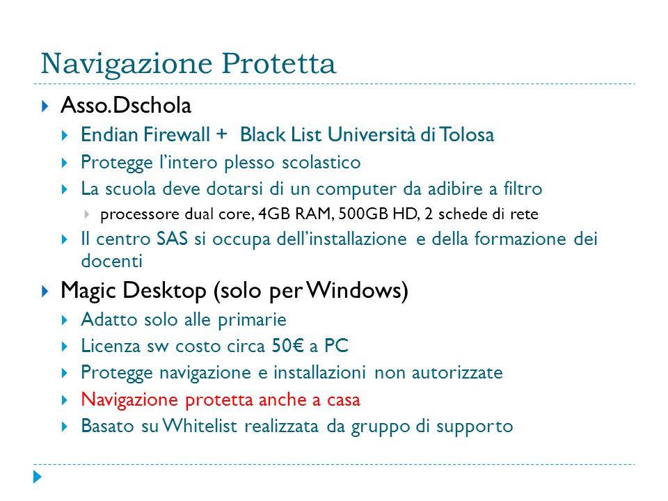 Navigazione Protetta  Asso.Dschola  Endian Firewall + Black List Università di Tolosa  Protegge l'intero plesso scolastico  La scuola deve dotarsi