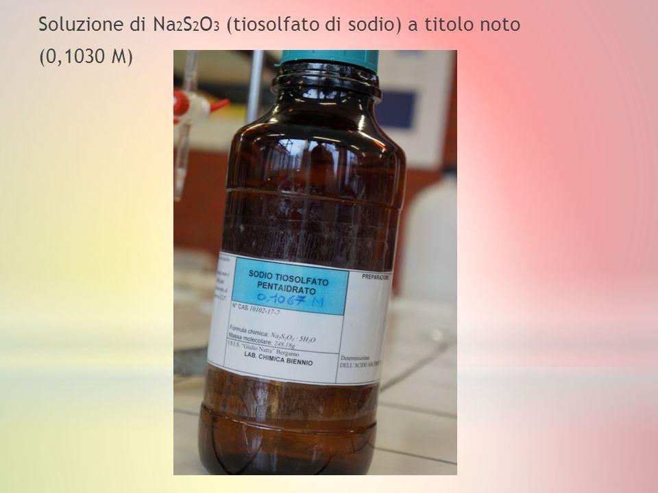 Soluzione di Na 2 S 2 O 3 (tiosolfato di sodio) a titolo noto (0,1030 M)