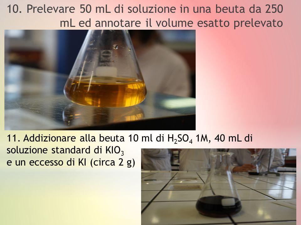 10. Prelevare 50 mL di soluzione in una beuta da 250 mL ed annotare il volume esatto prelevato 11. Addizionare alla beuta 10 ml di H 2 SO 4 1M, 40 mL