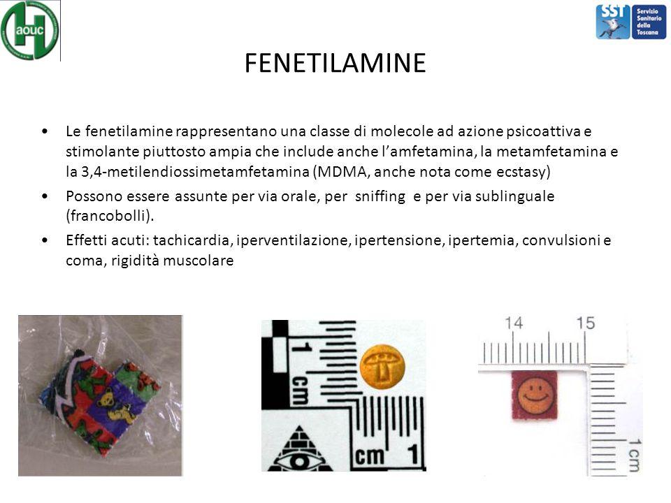 FENETILAMINE Le fenetilamine rappresentano una classe di molecole ad azione psicoattiva e stimolante piuttosto ampia che include anche l'amfetamina, l