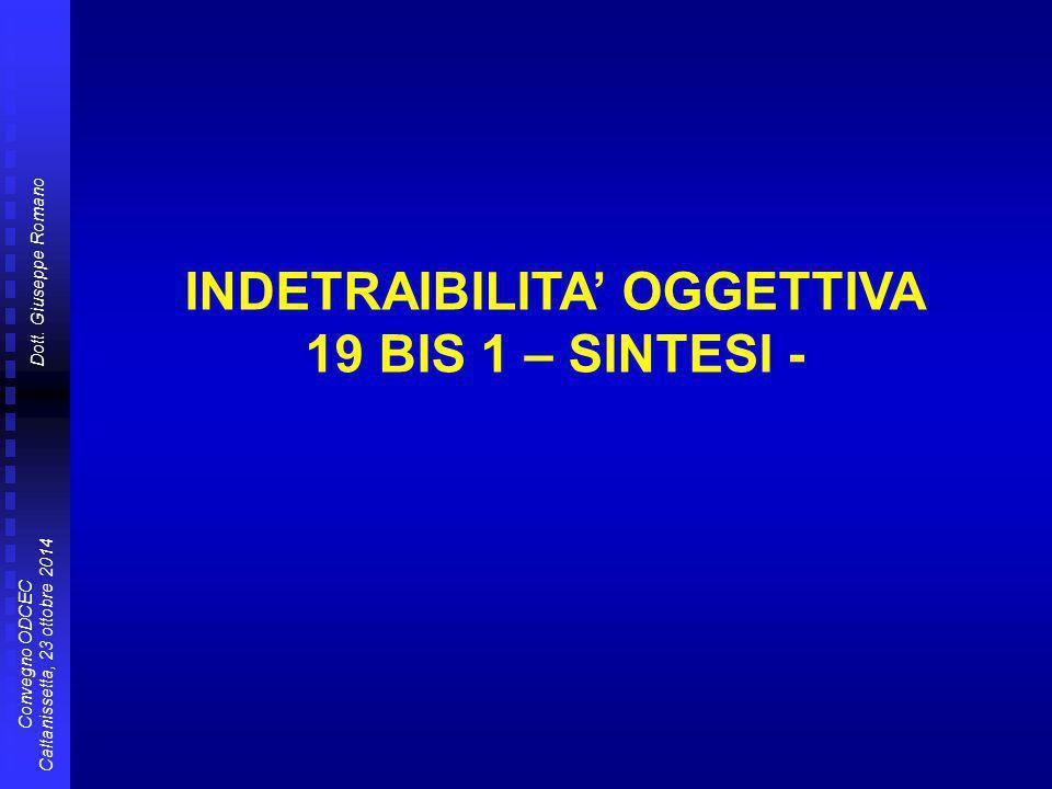 Dott. Giuseppe Romano Convegno ODCEC Caltanissetta, 23 ottobre 2014 INDETRAIBILITA' OGGETTIVA 19 BIS 1 – SINTESI -