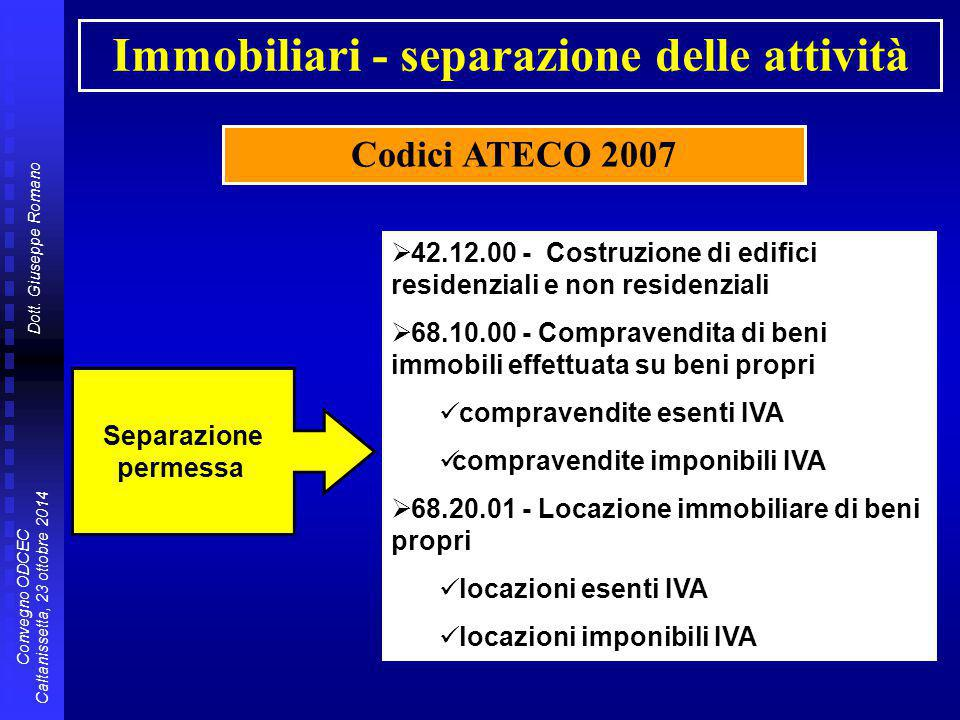 Dott. Giuseppe Romano Convegno ODCEC Caltanissetta, 23 ottobre 2014 Immobiliari - separazione delle attività Codici ATECO 2007 Separazione permessa 