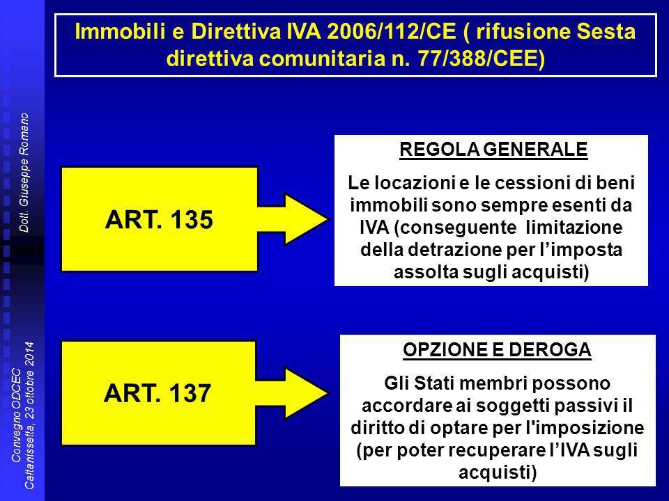 Dott. Giuseppe Romano Convegno ODCEC Caltanissetta, 23 ottobre 2014 Immobili e Direttiva IVA 2006/112/CE ( rifusione Sesta direttiva comunitaria n. 77