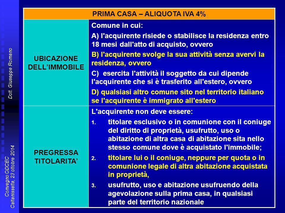 Dott. Giuseppe Romano Convegno ODCEC Caltanissetta, 23 ottobre 2014 PRIMA CASA – ALIQUOTA IVA 4% UBICAZIONE DELL'IMMOBILE Comune in cui: A) l'acquiren