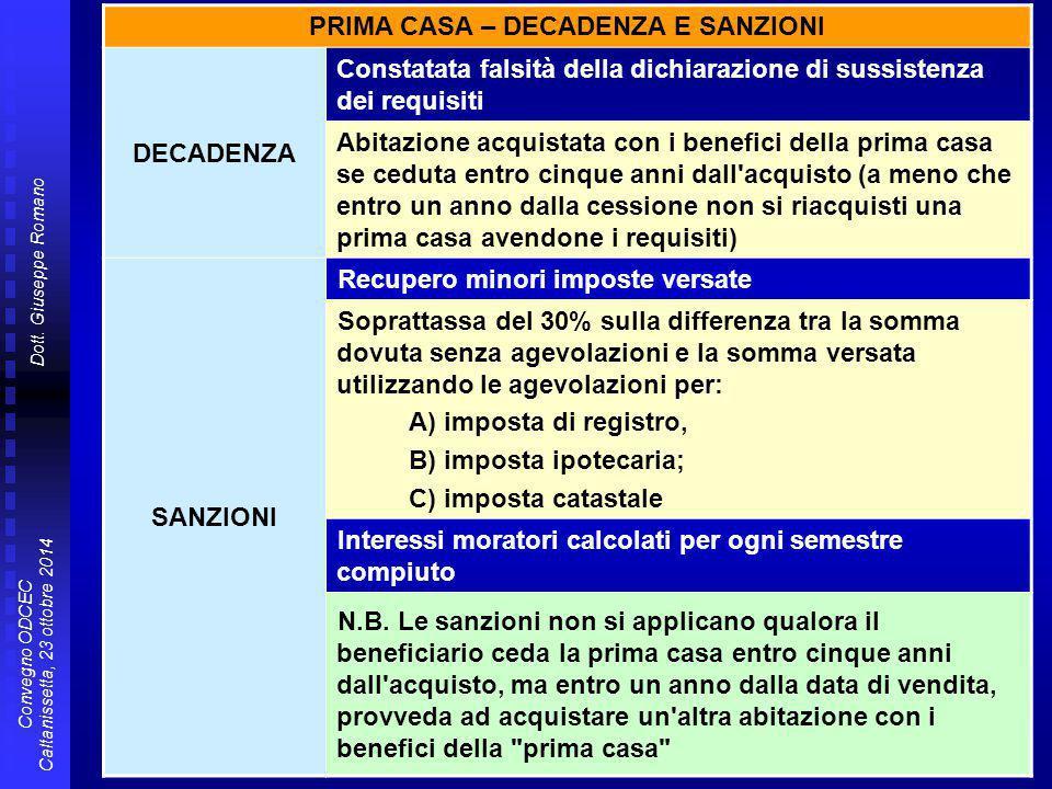 Dott. Giuseppe Romano Convegno ODCEC Caltanissetta, 23 ottobre 2014 PRIMA CASA – DECADENZA E SANZIONI DECADENZA Constatata falsità della dichiarazione